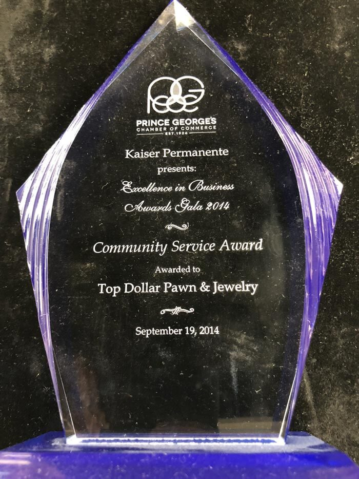 Winner Prince George's County Chamber of Commerce Community Service Award 2014